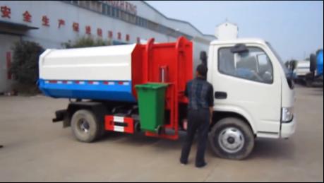 东风多利卡5方挂桶垃圾车视频|价格|厂家